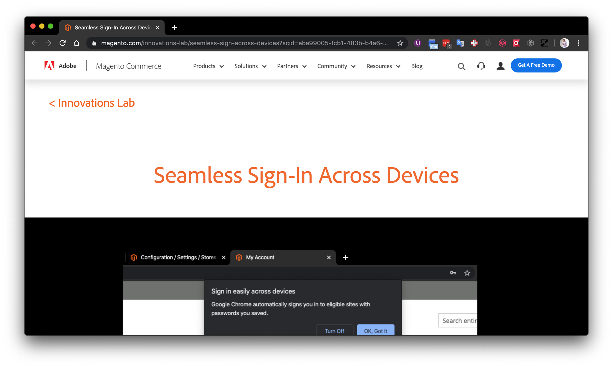 Magento Innovation Lab Seamless Sign-In